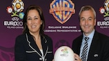 It's a deal: Pilar Zulueta of WBCP and David Taylor of UEFA Events