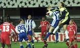 Aki Riihilahti challenges Kaiserslautern's Andreas Reinke for the ball during a 0-0 draw in HJK's 1998/99 group stage campaign