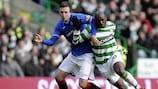 Danny Wilson (left) in action for Rangers against Celtic last season