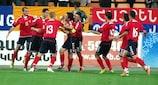 Edgar Malakyan (No9) of Armenia celebrates scoring