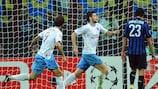Ondřej Čelůstka celebrates scoring the winning goal for Trabzonspor against Inter
