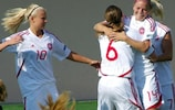 Kristine Petersen (right) is congratulated after putting Denmark ahead in Armenia