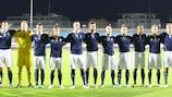 Scotland line up before the match in Luxembourg