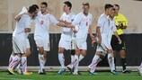 Die Schweizer feiern den Treffer von François Affolter