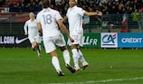 France's hat-trick scorer Élodie Thomis (right) celebrates with Marie-Laure Delie