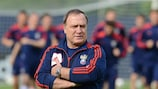 Russia coach Dick Advocaat keeps an eye on his charges