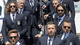Italy's 23-man squad leave Pisa for their UEFA EURO 2012 base camp in Krakow