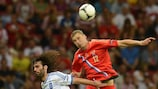 Action from the Russia-Greece match