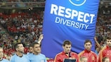 Spain captain Iker Casillas reads out his team's message in support of diversity