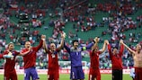 Czech Republic players salute their fans after the win over Greece