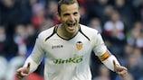 A familiar sight as Roberto Soldado celebrates another goal for Valencia