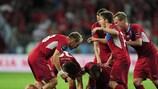 Os jogadores checos festejam o golo da vitória de Petr Jiráček em Wroclaw