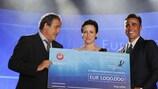 Michel Platini, Chantal Borgonovo y Fabio Cannavaro en la entrega del Premio en Mónaco