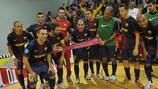 Barcelona celebrate their decisive win against Litija