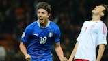 Riccardo Montolivo celebrates after putting Italy in front against Denmark