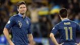 La reazione di Olivier Giroud e Samir Nasri dopo il gol ucraino