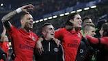 Paris celebrate their remarkable triumph at Stamford Bridge