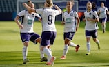Anderlecht celebrate scoring in their decisive 3-1 defeat of Linfield