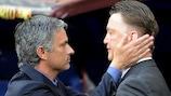 José Mourinho consoles Louis van Gaal in Madrid