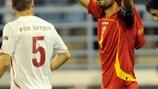 Mirko Vučinić jubelt über seinen Siegtreffer gegen die Schweiz