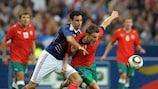 Adil Rami (left) in action for France against Belarus