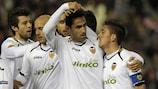 El Valencia celebra un gol contra el Stoke en la anterior ronda