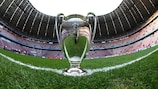 O troféu da UEFA Champions League na Fußball Arena München
