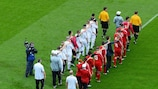 Blind and partially sighted players enter the field for a UEFA EURO 2012 Respect Inclusion match