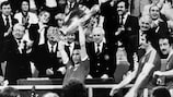 John McGovern lifts the trophy with Nottingham Forest in 1979