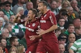 Ciprian Deac celebrates during CFR Cluj's third qualifying round second leg win at Celtic