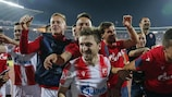 Crvena zvezda celebrate winning their play-off second leg in Belgrade