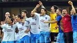 O Trabzonspor festeja a vitória em Milão
