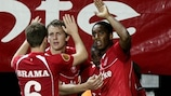 Leroy Fer (right) takes the plaudits after his winning goal
