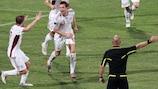 Le Letton Kaspars Gorkšs a ouvert le score contre Malte en qualifications pour l'UEFA EURO 2012