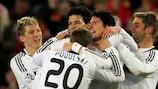 Germany celebrate as Mario Gómez makes it 3-0