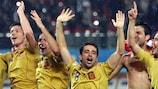 Spain celebrate their semi-final win over Russia