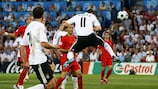 Germany's Miroslav Klose scores against Portugal in the UEFA EURO 2008™ quarter-finals