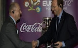 It's a deal: Dirk Veryser of Coca-Cola and UEFA's Philippe Margraff