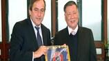 UEFA president Michel Platini and Hyundai Motor Company chairman Mong-Koo Chung