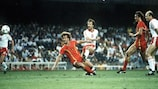 Former Lechia player Janusz Kupcewicz (shooting) in action for Poland at the 1982 World Cup