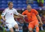 Arjen Robben (right) up against Denmark goalscorer Michael Krohn-Dehli
