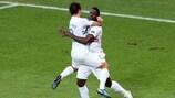 Silvestre Varela and João Moutinho celebrate the substitute's late winner