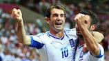 Giorgos Karagounis (left) celebrates his winner against Russia with Giorgos Tzavellas