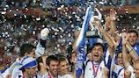 Traianos Dellas lifts the UEFA EURO 2004 trophy