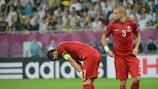Cristiano Ronaldo e Pepe mostram o desalento português