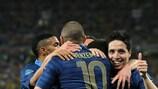 A França festeja o seu primeiro golo em Donetsk