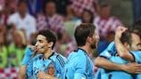 Os jogadores da Espanha festejam o golo frente à Croácia que lhes garantiu a passagem aos quartos-de-final