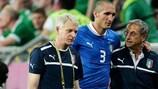 Giorgio Chiellini lesionou-se no jogo contra a República da Irlanda