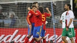 La Spagna festeggia il successo contro il Portogallo ottenuto negli ottavi di finale nella Coppa del Mondo FIFA 2010