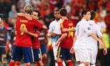 A Espanha bateu a França por 2-0 nos quartos-de-final